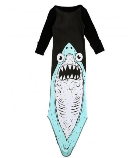 Cute girl long sleeve shark print baby pullover