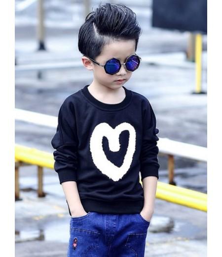 Long Sleeve Heart Print Sweater