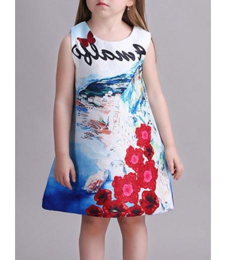 Scenic print princess dress