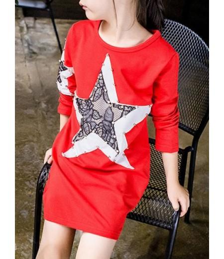 Star panel Beaded T-shirt dress