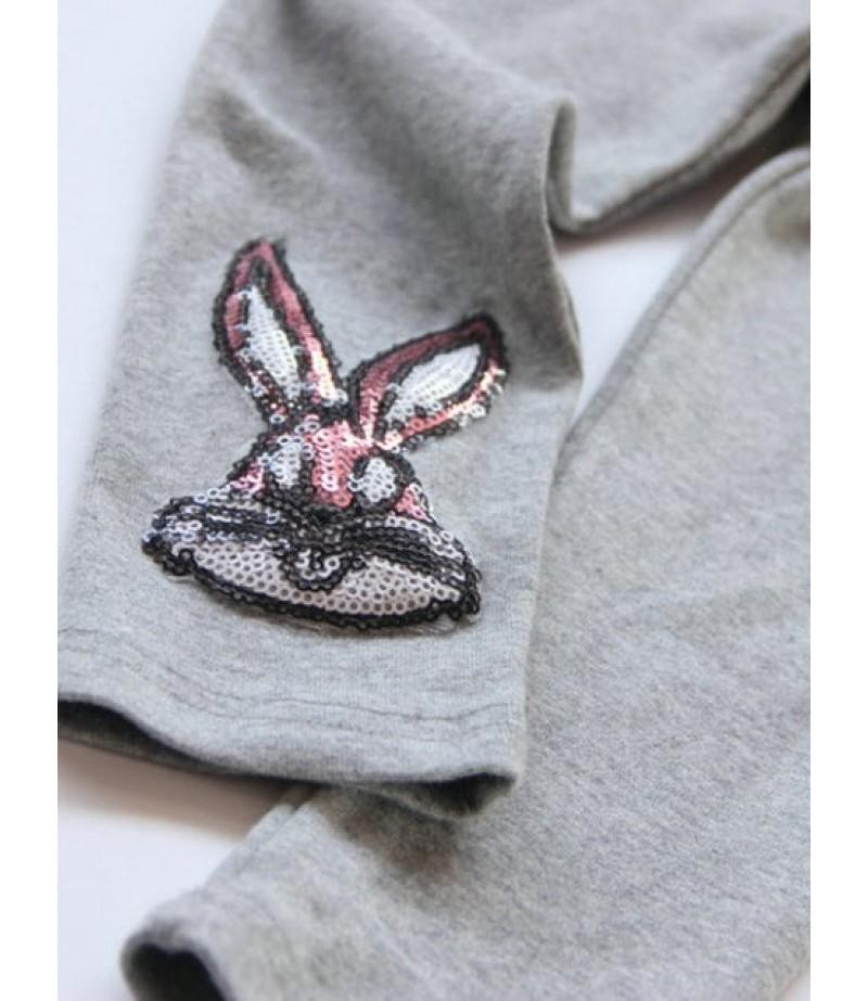 Sequin-embellished bunny print pantyhose
