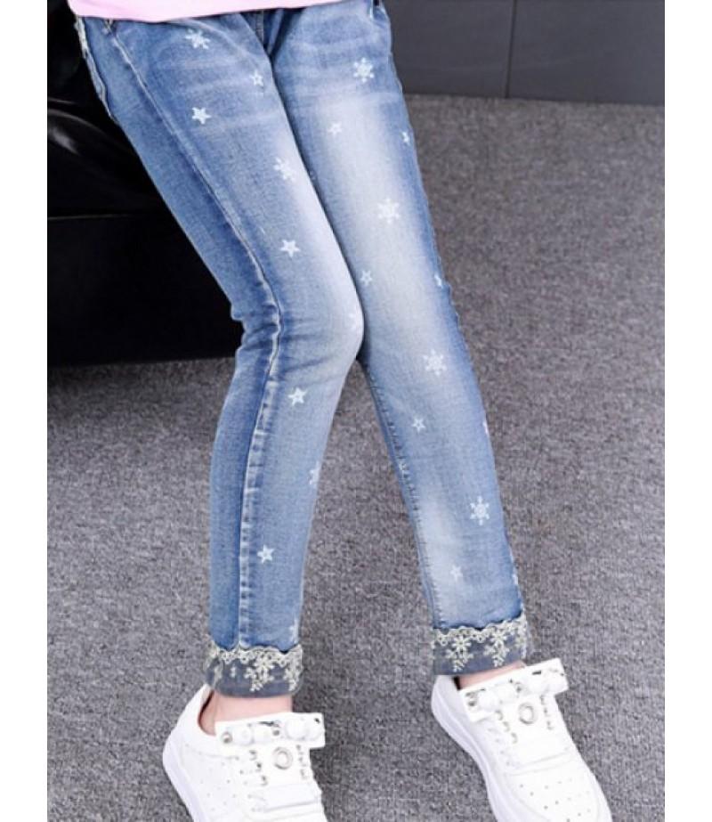 Snowflake hem and star print jeans