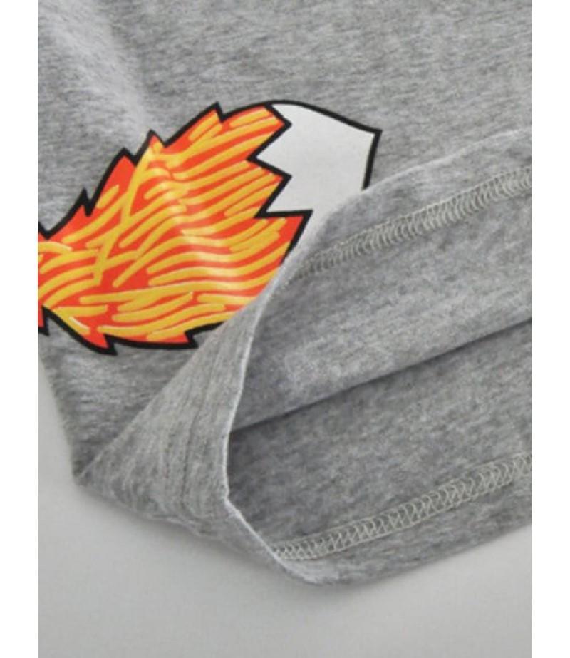 Crew neck fox print long sleeve t-shirt