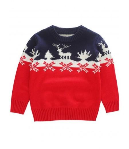 Boy's elk snowflake jacquard Christmas knitting sweater