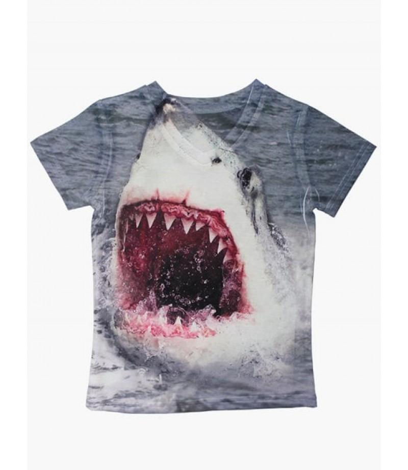 Shark short sleeve V-neck T-shirt