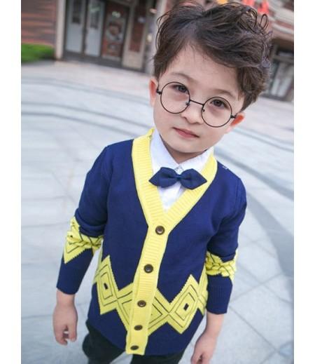 Children's V-neck geometric jacquard cardigan