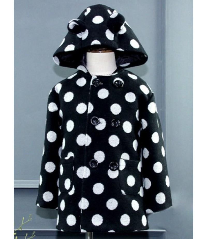 Children's hooded double-breasted polka dot wool coat