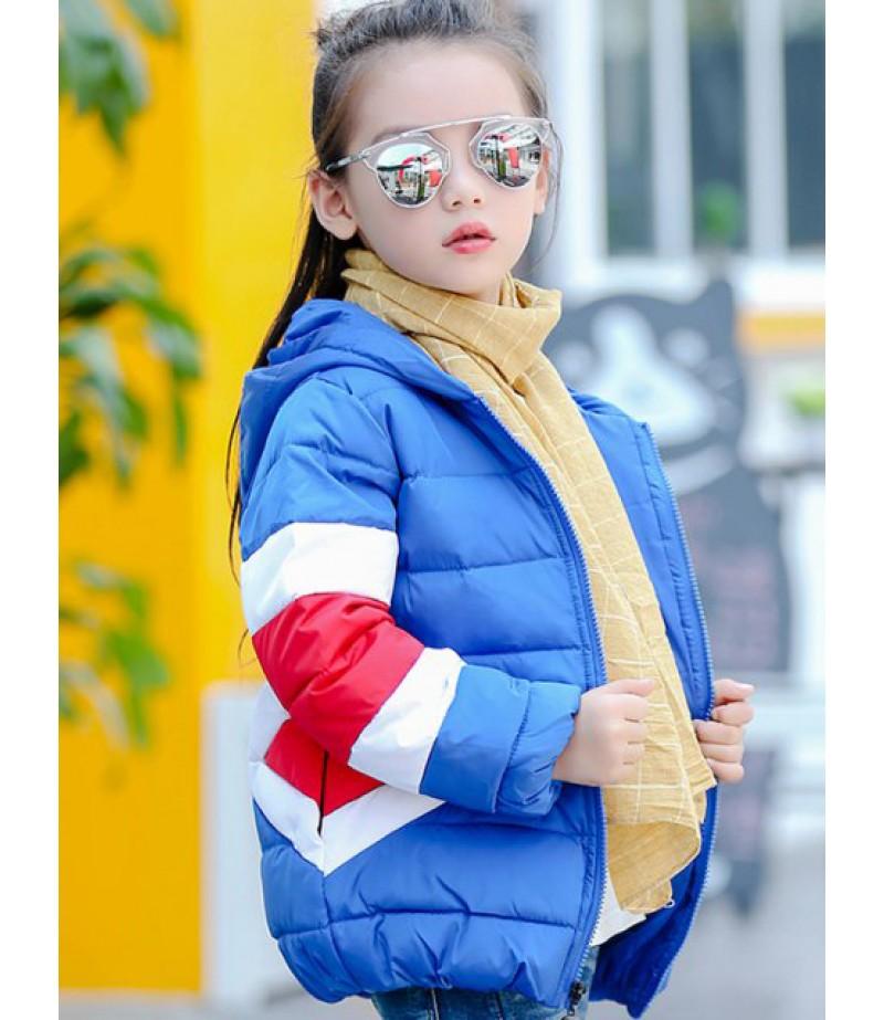 Children's hooded coloured coat