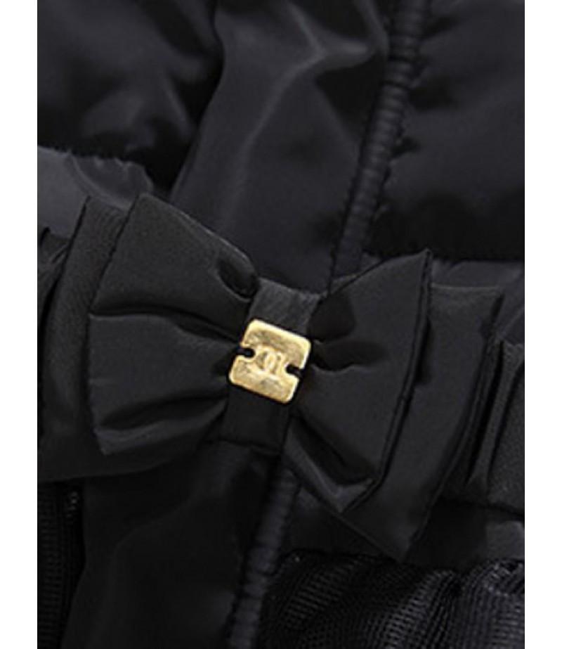Girls Hooded Leaf Printed River Jacket