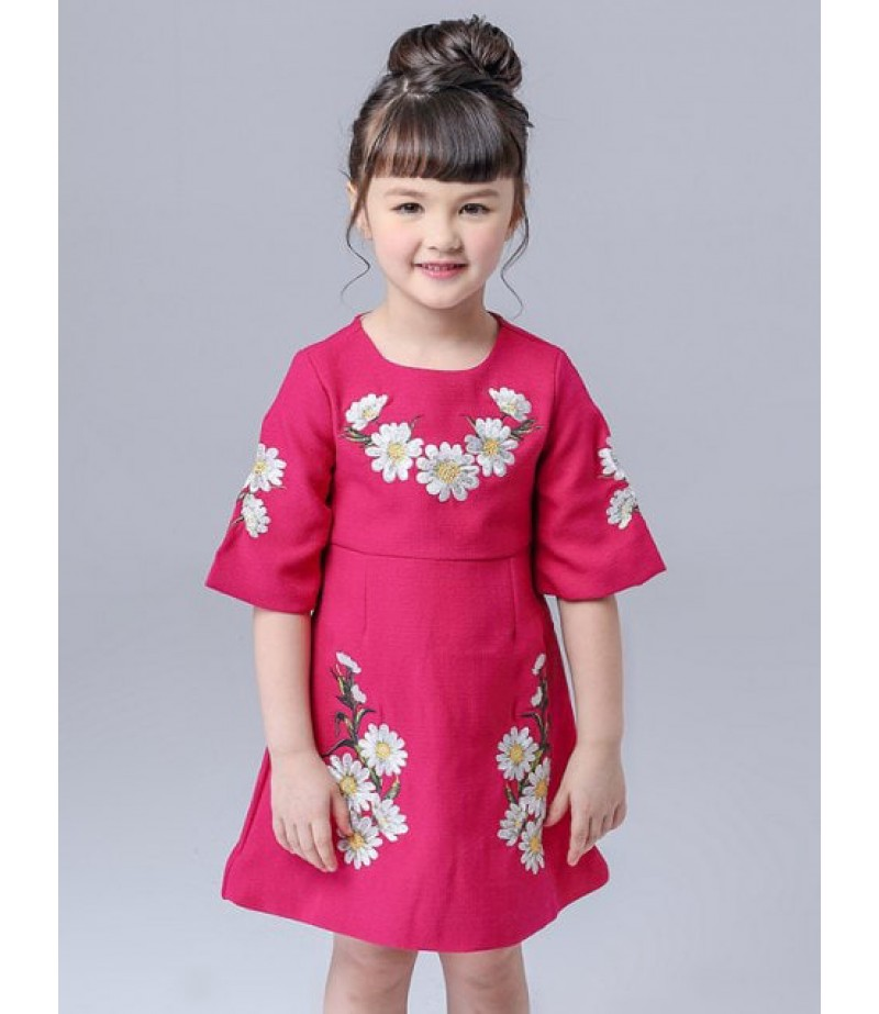 Children's floral embroidered mini dress