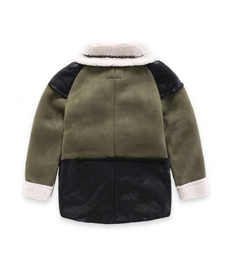 Children's leather wool coat