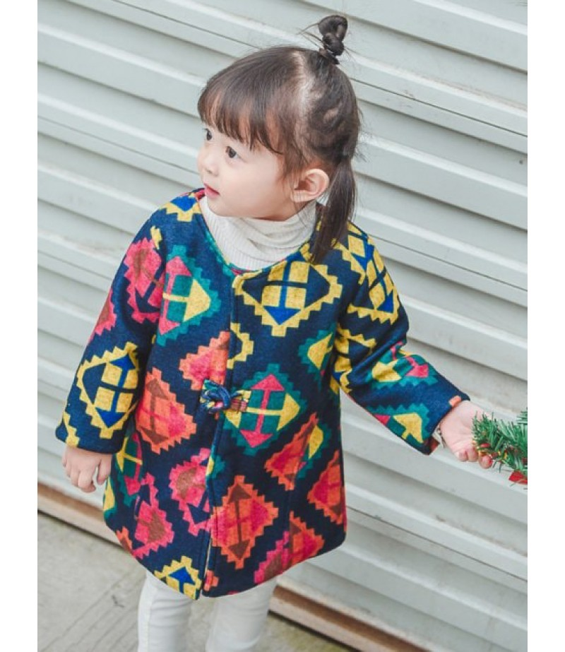 Arched geometric print quilted coat