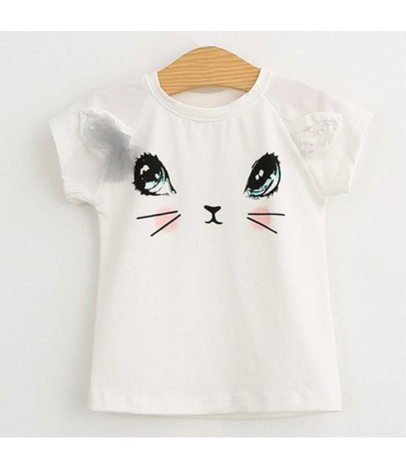 Girls short sleeve suit cute cat T-shirt puffy skirt short sleeve suit