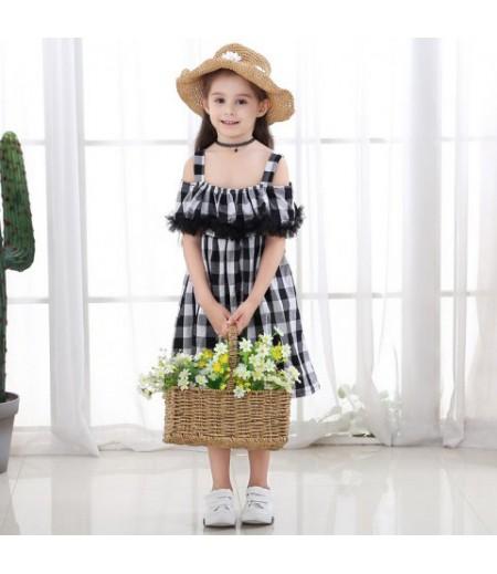 Women's cotton black and white square dress, black square dress