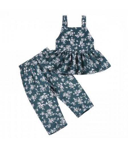 Women's Tide Green Full Print Jumpsuit Tank Top