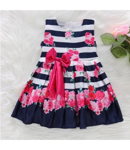 Princess Dresses Satin Printed Bow Girls Dresses