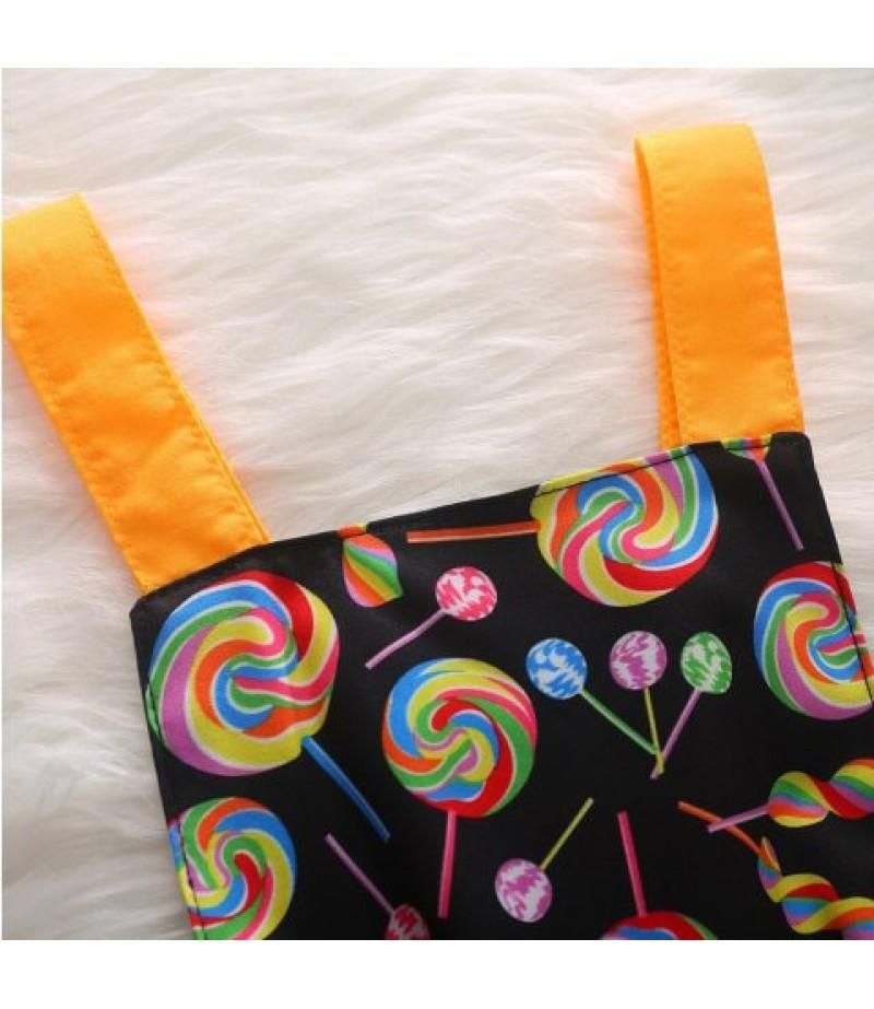 Pure Cotton Lollipop Printed Romantic Shirt + Bow Headpiece Set