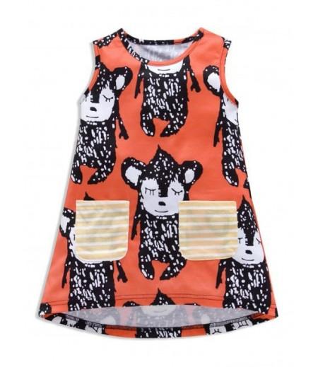 Women's animal print striped pocket sleeveless hem dress