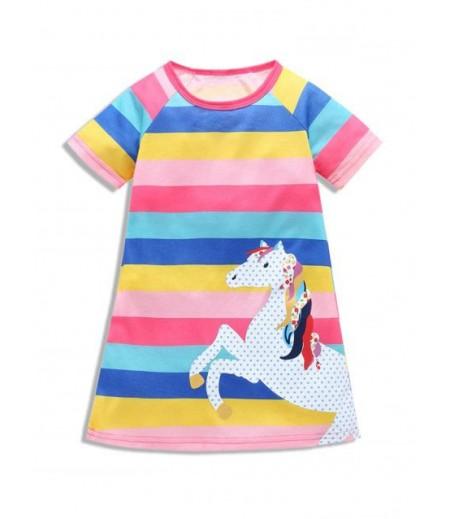 Girls Colorful Striped Horse Print Mini Dress