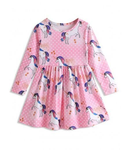 Dot Unicorn print large waist long sleeve dress for girls