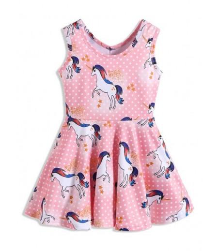 Unicorn dot print high waist dress for girls