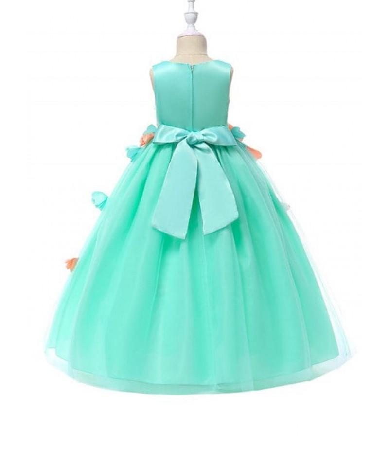 Flower Design Sleeveless A-line Tulle Dress