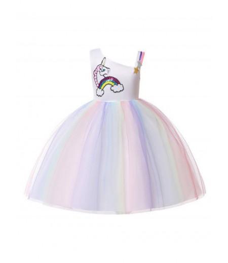 Unicorn rainbow design sleeveless string Tulle dress