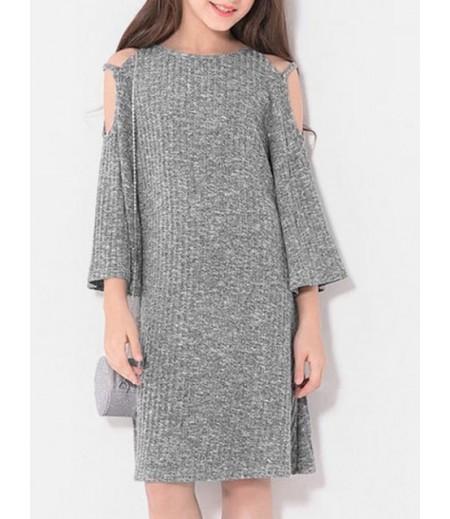 Women's Open Shoulder Leader Ribbed Knit Dress