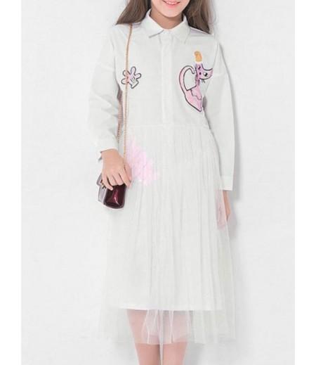 Sequin Cat Pattern Long Sleeve Shirt Tulle Dress