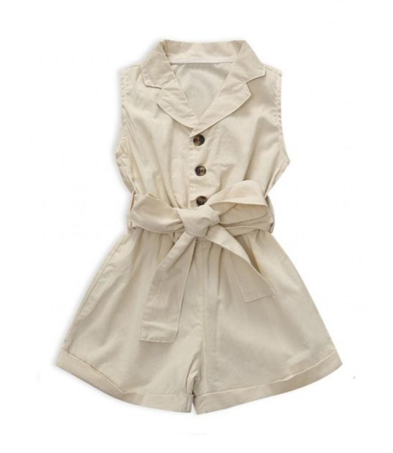 Sleeveless single-breasted shorts with waistband