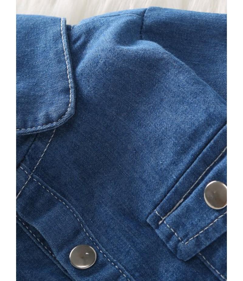 Denim shirt and flare pants suit