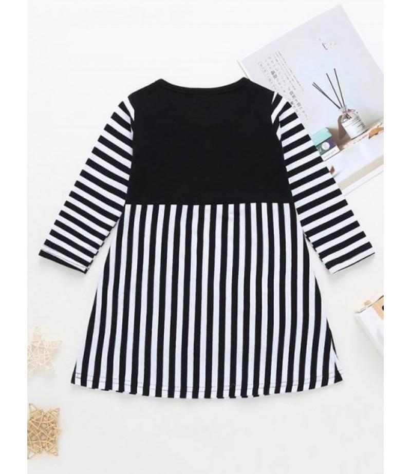 Girls Swan Pattern Striped Long Sleeve Dress