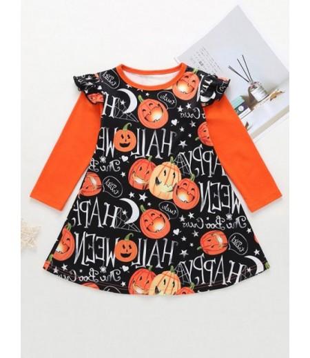 Girls Halloween Pumpkin Print A-line Skirt
